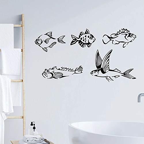 WERWN Peces de mar Tatuajes de Pared baño Club de Pesca habitación de los niños decoración de Interiores océano océano Estilo refrigerador Ventana Vinilo Adhesivo Papel Tapiz