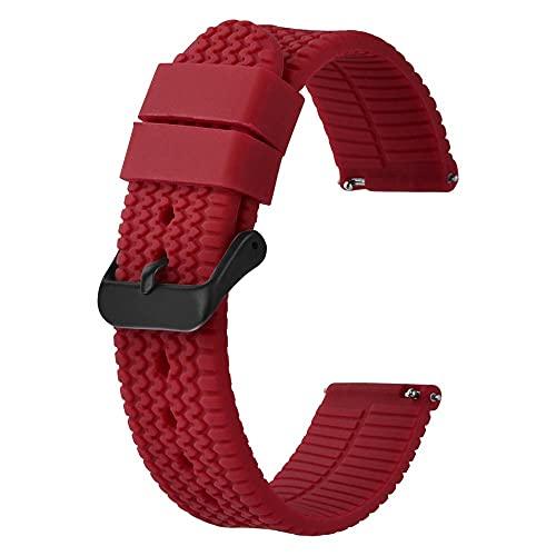 LINMAN Banda de Reloj 18mm 20 mm 22mm 24mm, Brazalete de Correa de Reloj de siliocne para Hombres Mujeres, Banda de reemplazo de Caucho Negro (Band Color : Crimson, tamaño : 24mm)