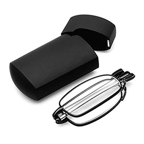 YUNB Folding Lesebrille, bewegliche Rotation Eyeglass mit Mini Flip Top Tragetasche für Männer/Frauen