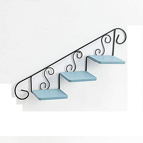 Bloemenstandaard met ladder om op te hangen, 3 niveaus, ijzer en hout, opbergplank voor bloempot, wanddecoratie, decoratie thuis 39 * 24 * 10 cm Blauw