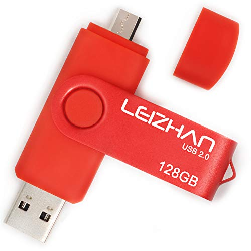 LEIZHAN OTG Flash Drive 128GB Micro Pendrive USB 2.0 Cell Phone Memory Stick Android Pen Drive for Samsung Galaxy, Xiaomi,LG,Sony, One-Plus,HTC, Meizu Red -  caijiao021