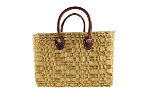 Kobolo® Einkaufstasche Einkaufskorb Badetasche Flechttasche aus natürlichem Seegras mit Echt-Leder-Henkeln in Größe S / 36x16x26 cm