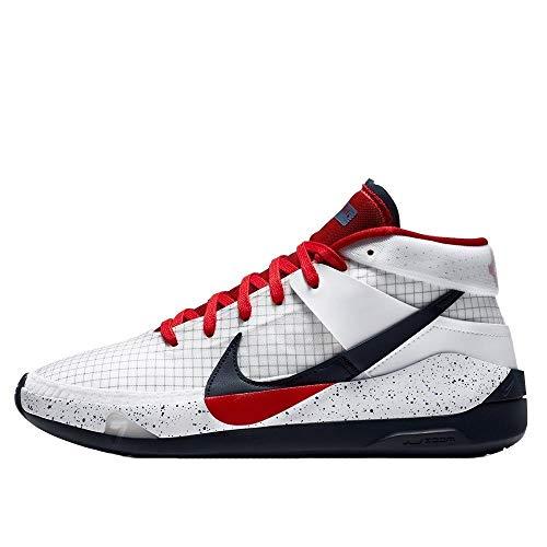 Nike Kd13 Baloncesto Zapato Hombres Ci9948-101, blanco (Blanco/Rojo Deporte Obsidiana), 44 EU