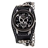 FENKOO - Reloj Unisex de Estilo Punk, Metal Pesado, diseño de Remaches, HHBTXWEB-Black, Negro