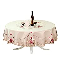 ファッションホーム-おしゃれな雰囲気へ カントリー調 刺繍 カットワーク円型 大判 テーブルクロス