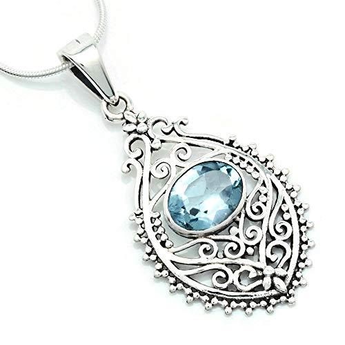 Kette mit Blau Topas Halskette Kettenanhänger 925 Silber (132-62 03), Kettenlänge:45 cm