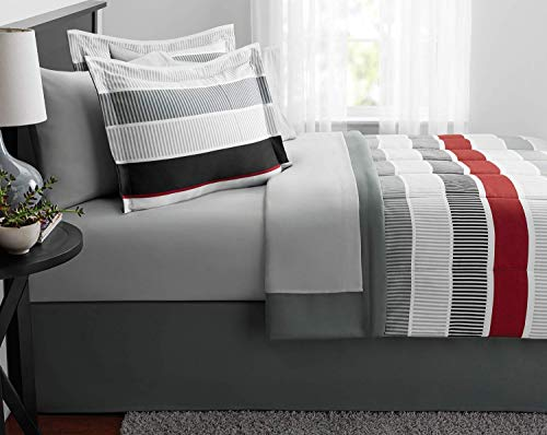 Mainstays Stripe Bed in a Bag Bedding Red Stripes Queen Set