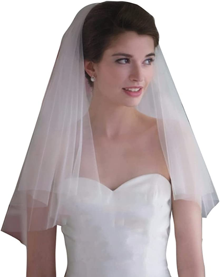 Funyrich Bride Wedding Veil Short Shoulder Length Bridal Veils Soft Tulle Accessories with Comb and Cut Edge 2 Tier for Women