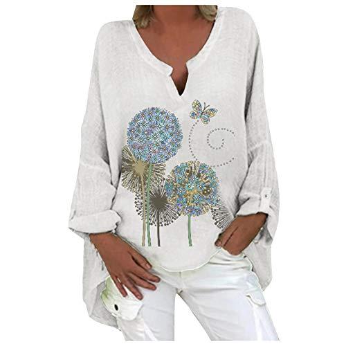 Generic T Shirt Femme Ample Pas Cher Chic Imprimé Fleuri Vintage Coton et Lin Baggy Tops Casual Oversize Manche Longue Col en V Chemisie,Grande Taille Chemisier Longue,All-Match Chemisiers Tuniques