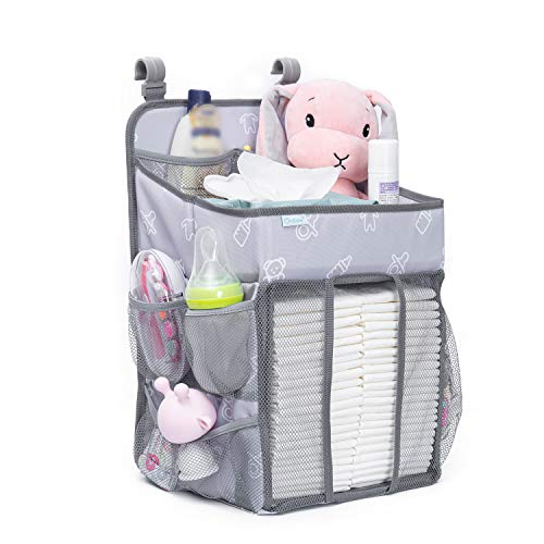 Orzbow Organizer and Diaper Caddy | Hanging Diaper Organization Storage for Essentials | Hang on Bed, Changing Table or Wall (Grey)