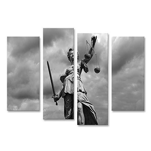 islandburner Bild Bilder auf Leinwand Schwarze und Weisse Statue der Justizgöttin Justitia vor bewölktem Himmel Wandbild Poster Leinwandbild QBUH