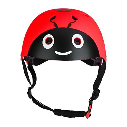TiaoBug Fahrradhelm Sporthelm Skaterhelm Scooter Helm Radhelm Sicherheit für Mädchen Junge Rot 48-54cm(Kopfumfang)