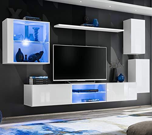 ASM SWITCH XXIII Wohnwand 250cm breit TV Ständer Display Glas Schrank PUSH-CLICK Türen LED Lichter Weiß Hochglanz