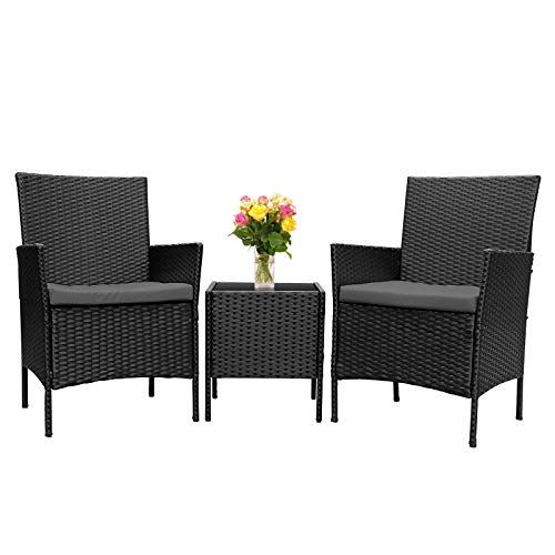 INTEY 3 Pieces Patio Set Outdoor Patio Furniture Sets All-Weather PE Rattan Wicker Conversation Set with 2 Cushions for Porch Garden Poolside Balcony