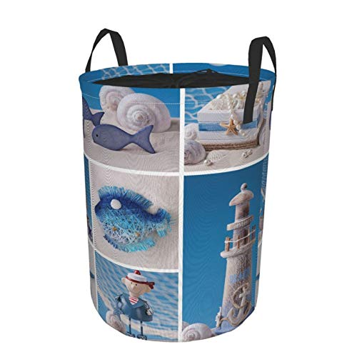 Laundry Basket Bags with HandlesMarine Theme Design Objects Fishes Shells Starfishes Pearls Lighthouse SailboatWaterproof Washing Bin Foldable Dirty Hamper for Storage kids Clothes toy M