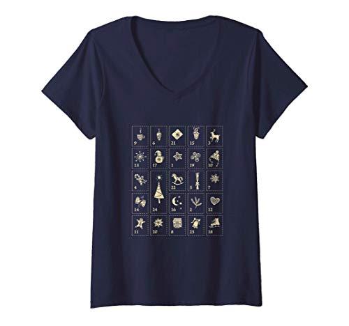 Donna Calendario dell'Avvento, regalo di Natale Maglietta con Collo a V