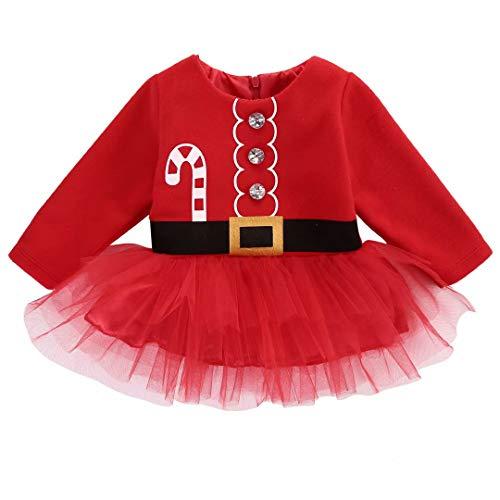 Frecoccialo - Vestito a maniche lunghe in cotone, motivo natalizio, con gonna in tulle rosso 18-24 Mesi