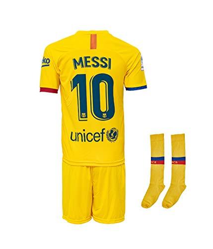 Barcelona #10 Messi 2019-2020 Auswärts Kinder Fußball Trikot Hose und Socken Kindergrößen