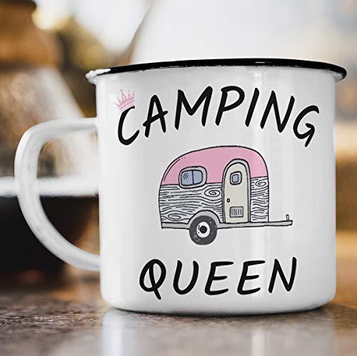 Nukular Emaille Tasse Camping Queen Toller Becher für Camper
