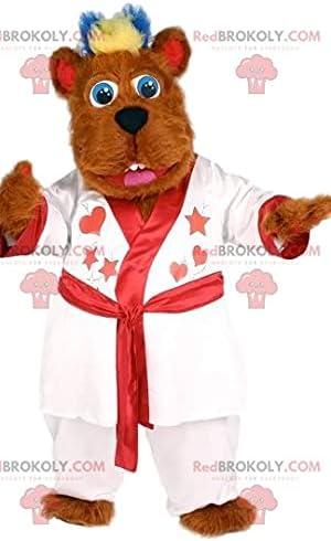 Soft red bear REDBROKOLY Mascot with his white bathrobe