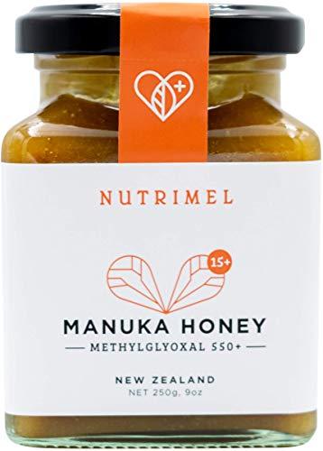 NUTRIMEL Miel de Manuka 15+ (MGO 550+) probado y certificado | 100{89db04a93ff20d87e682d4ee589aaa2142cb7c07172abbee418cea651bb9d7b9} pura Nueva Zelanda | (15+, 250)