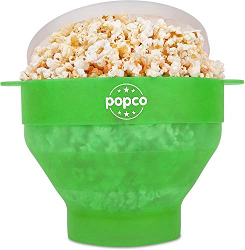 The Original Popco Silicone Microwave Popcorn Popper with Handles, Silicone Popcorn Maker, Collapsible Bowl Bpa Free and Dishwasher Safe - 15 Colors Available (Transparent Green)