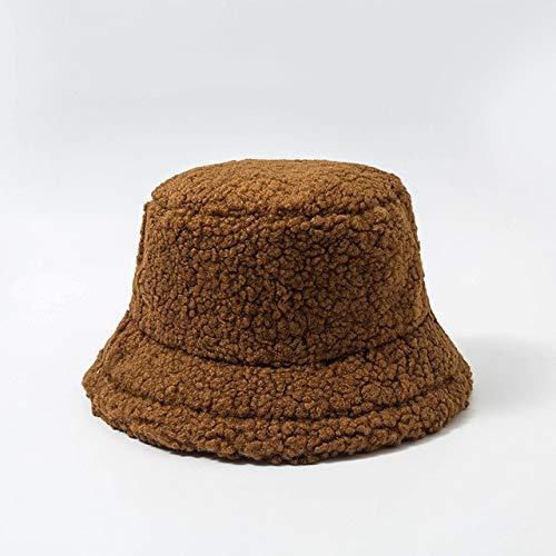 Sombrero de Mujer Piel Artificial sólida Gorra Femenina cálida Piel sintética Sombrero de Cubo de Invierno para Mujer Sombrero de protección Solar al Aire Libre Sombrero Panamá Lady Cap - Bronw