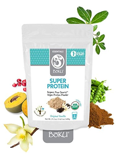 BōKU Organic Protein Powder- Vanilla Flavored- Vegan, Plant Based, Gluten & Whey Free, Non Dairy, Amino Acids, Best for Healthy Stomach and Digestion- 21oz