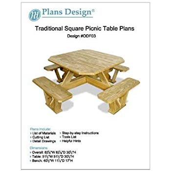 Classic Round Picnic Table Set Woodworking Plans Pattern Odf13 Outdoor Furniture Woodworking Project Plans Amazon Com