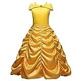 Frashing Mädchen Belle Kostüme Gelbes Prinzessinkleid Karneval Verkleiden Prinzessin Halloween Party Cosplay Kostüme Kleider Ankleiden für Prinzessin Mädchen Festlich Kleid Partykleid 3-8 Jahre