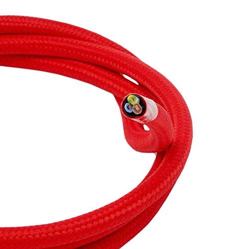 Stoffkabel Rot Länge 3,00m 3-adriges Textilkabel Mit Stoff umsponnen Lampenkabel Leuchtenkabel Kabel
