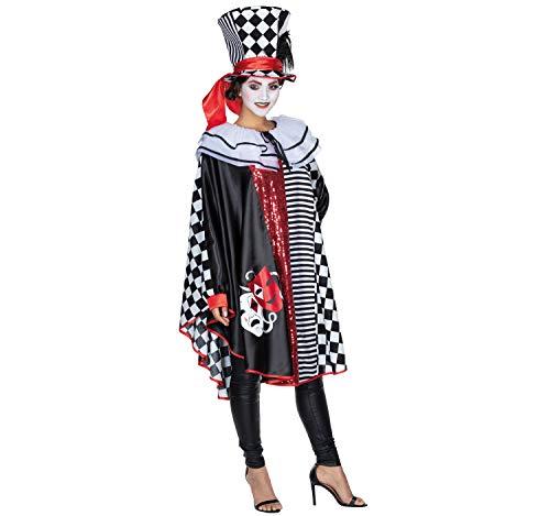 Mottoland Damen Kostüm Pierrot Harlekin Poncho Harlekina OneSize Fasching Karneval Clown