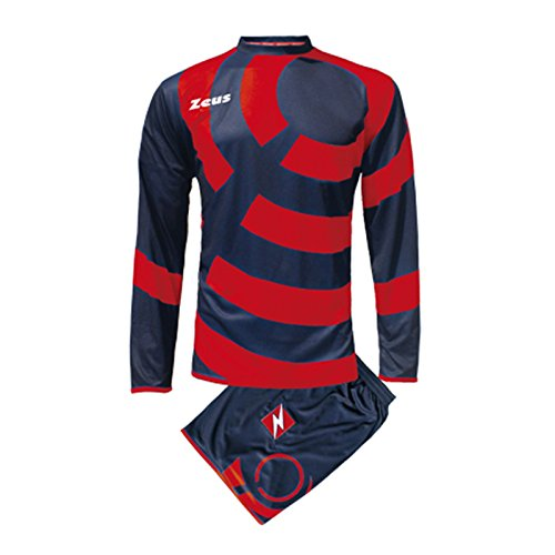 Zeus Herren Kinder Set Trikot Shirt Hosen Klein Armel Kit Fußball Hallenfußball KIT Ring BLAU ROT (XL)