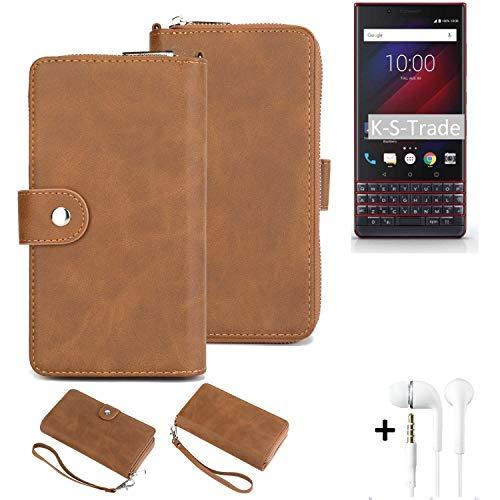 K-S-Trade Handy-Schutz-Hülle Kompatibel Mit BlackBerry Key 2 LE Dual-SIM + Kopfhörer Portemonnee Tasche Wallet-Hülle Bookstyle-Etui Braun (1x)