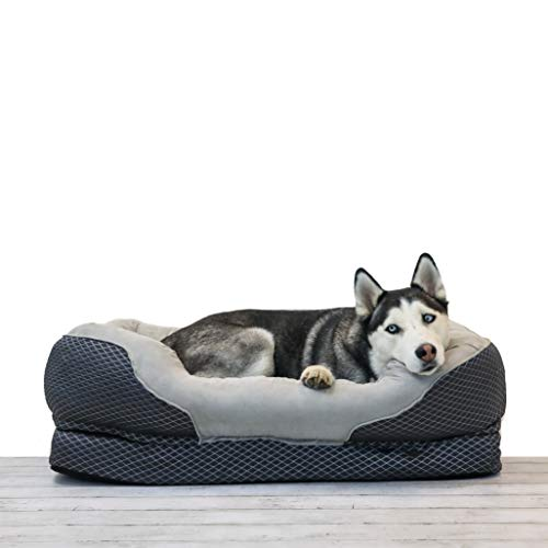 BarksBar Large Gray Orthopedic Dog Bed - 40 x 30 inches - Snuggly Sleeper with Solid Orthopedic Foam, Non-Slip Back