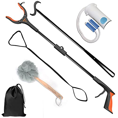 7 In 1 Hip Knee Back Replacement Recovery Kit With 32' Grabber Reacher Tool, Slick Sock Aid, Sturdy Long Shoe Horn & Dressing Stick, Leg Lifter, Bath Sponge, Storage Bag