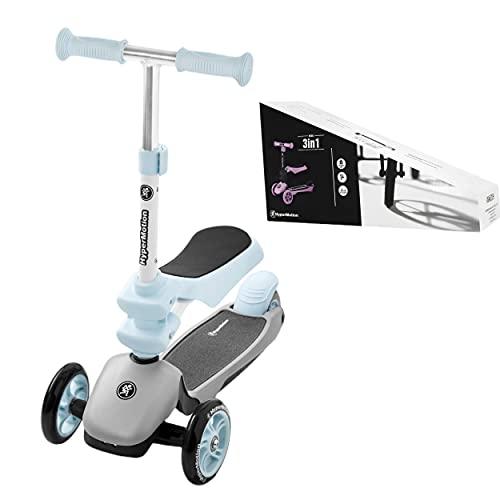 HyperMotion - Monopattino per bambini 3 in 1 (carico massimo 50 kg), con triciclo per bambini espandibile di 1 anno, poggiapiedi e seduta di carico max 20 kg, piattaforma antiscivolo, Blu