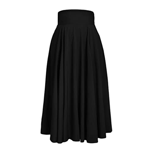 27589df97418c Vanbuy Women s High Waist Pleated Long Skirt Front Slit Belted Midi Skirt  with Pockets