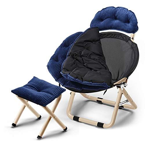 Chaises Longues Canapé Paresseux Sol Fauteuil Avec Coussin D'assise Détachable Chambre Bureau Folding Reclining Chairs Plage Jardin Extérieur (Color : C, STOOL : 2)