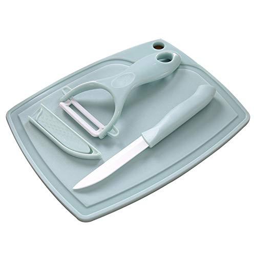 HQX Cuchillo de Cocina de Tres Piezas Juego de Cuchillos de cerámica Juego de Cuchillos de cerámica para Exteriores Juego de Tabla de Cortar Multifuncional PP + Material pelador de cerámica