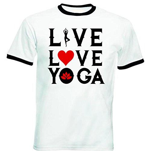 teesquare1st Men's Yoga, Live, Love, Yoga Black Ringer T-Shirt Size XXLarge