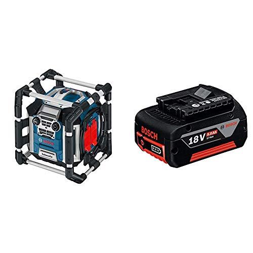 Bosch Professional 18V System Akku Baustellenradio GML 50 (50 Watt, USB, Aux-In, integrierter Akkulader, Fernbedienung, ohne Akkus und Ladegerät, im Karton) & 18V System Akku GBA 18V 5.0Ah
