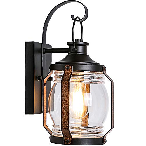 Canyon Outdoor Indoor Wall Light Fixture, Exterior Black Wall Lighting, Architectural Wall Sconce with Clear Glass Shade for Entryway, Porch, Front Door, ETL Listed
