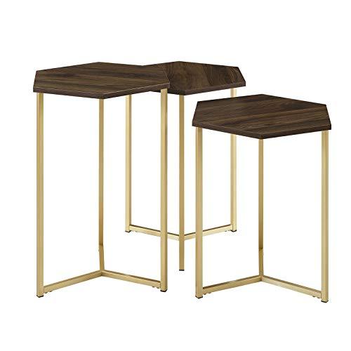 Walker Edison Furniture Company Modern Hexagon Nesting Side End Table Set Living Room, Walnut/Gold