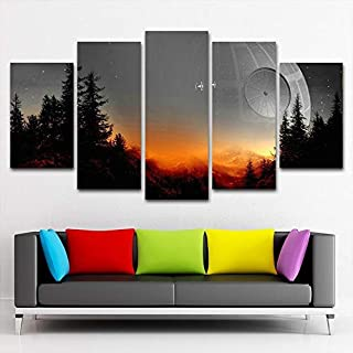 HAO SHUN DA Modular Canvas Pictures Wall Art Framed 5 Pieces Star Wars Tree Death Star Painting Living Room Prints Movie Poster Home Decor (16x24in2 16x32in2 16x40in1(Frame))