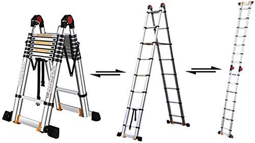 Escalera de heces Las escaleras telescópicas,Multi Propósito de aluminio Extensión telescópica Escalera,Pesado Ingeniería telescópica Escalera for carga Loft,Capacidad 330Lbs Escala de seguridad