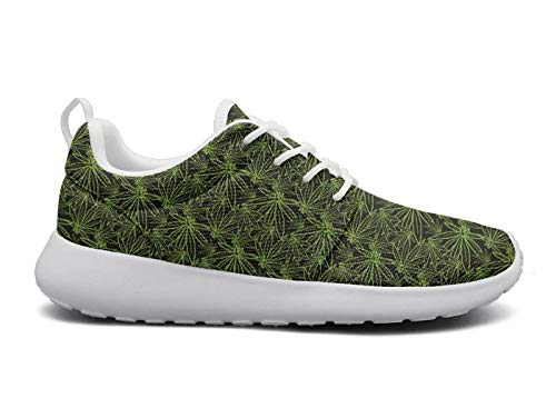 Mens Green Best Cannabis Shoes Ultra Lightweight Mesh Soft Sole Cushioning Sneakers Running Shoes