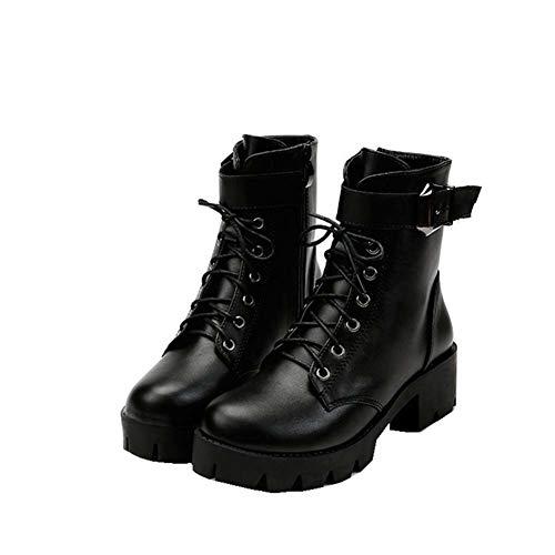 Vrouwen Schoenen Laarzen Herfst Ronde teen Lace Up Enkel Gesp Grove Hoge Hakken Platform Ridder Martin Laarzen 38 Zwart