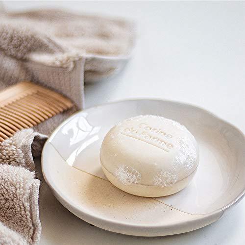 Corine de Farme   Shampoing Solide Cheveux Secs   Vegan - Formule Huile De Coco Hydratante   Shampoing Biodégradable Zero Déchet   Eco-conçu Et Fabriqué en France