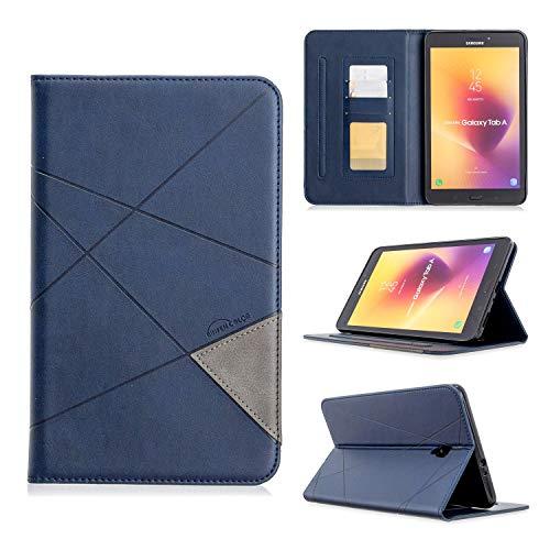 SZCINSEN Funda vertical prismática para tablet Samsung T385. Funda de piel sintética avanzada con función de soporte [con ranura para tarjetas] (color azul)